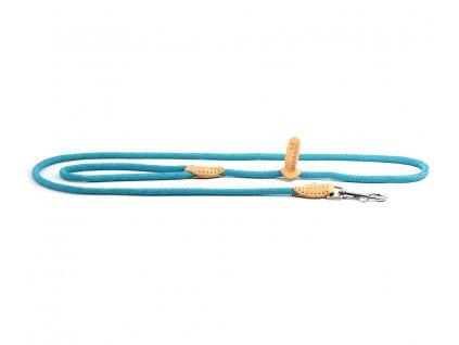 Lehoučké stylové vodítko pro psy DOODLEBONE z měkkého nylonu s koženými doplňky. Délka 170 cm, tloušťka lanka 8 mm, karabina 7,5 cm, reflexní prvky. Barva modrá.