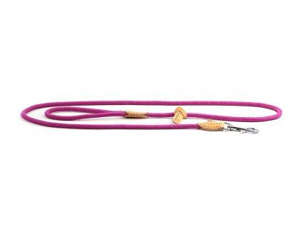 Lehoučké stylové vodítko pro psy DOODLEBONE z měkkého nylonu s koženými doplňky. Délka 170 cm, tloušťka lanka 8 mm, karabina 7,5 cm, reflexní prvky. Barva tmavě růžová.