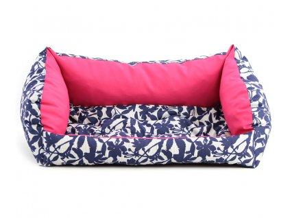 Pelíšek pro psy v praktickém voděodolném provedení, barva tm. růžová/modrá. Vyjímatelná podložka, výplň polyuretanová pěna, výběr velikostí.