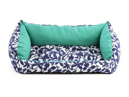 Pelíšek pro psy v praktickém voděodolném provedení, barva zelená/modrá. Vyjímatelná podložka, výplň polyuretanová pěna, výběr velikostí.