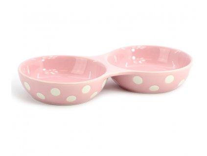 Růžová keramická dvojmiska pro psy vhodná na vodu i krmivo. Dvojmiska je díky váze velmi stabilní, je vhodná pro malá plemena i kočky.