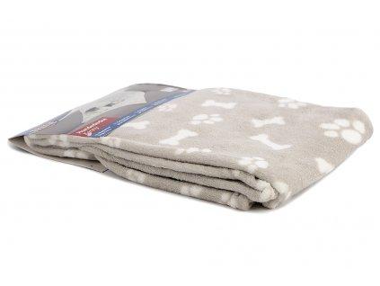 Měkoučká fleecová deka pro psy ochrání vaši sedačku, křeslo, potahy v autě a další citlivé povrchy před poškrábáním a znčištěním. Rozměry deky 100 × 75 cm, barva béžová.