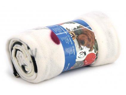 Stylová flísová deka pro psy s Vánočním motivem ochrání vaši sedačku, křeslo, potahy v autě a další citlivé povrchy před poškrábáním a znečištěním. Rozměry deky 150 × 100 cm, barva bílá.