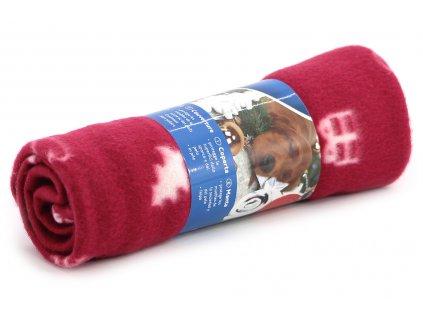 Stylová flísová deka pro psy s Vánočním motivem ochrání vaši sedačku, křeslo, potahy v autě a další citlivé povrchy před poškrábáním a znečištěním. Rozměry deky 100 × 70 cm, barva červená.