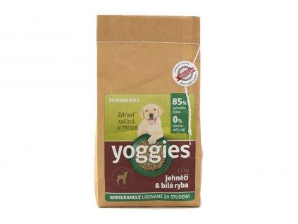 YOGGIES minigranule – jehněčí a bílá ryba. Za studena lisované minigranule pro štěňata i dospělé psy s menší tělesnou zátěží.