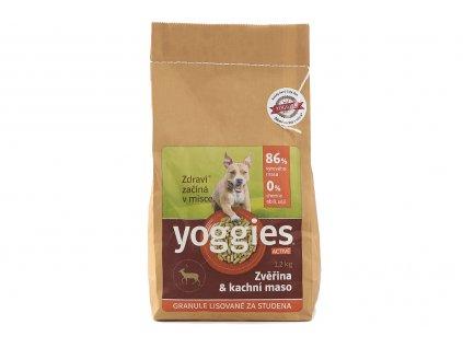 YOGGIES granule pro štěňata i dospělé psy – zvěřina a kachní maso. Za studena lisované pro štěňata i dospělé psy vyrobené výhradně ze syrového masa, bez barviv a konzervantů.