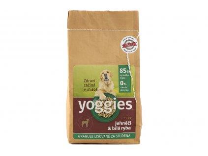 Granule pro štěňata i dospělé psy YOGGIES – jehněčí a bílá ryba. Za studena lisované granule pro štěňata i dospělé psy s menší tělesnou zátěží.