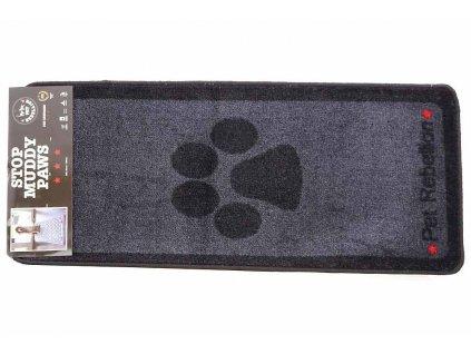 Velký kobereček pod misky s vodou i krmivem. Chrání podlahu před poškozením i znečištěním a má vysokou absorbční schopnost. Barva černo-šedá s tlapkou.