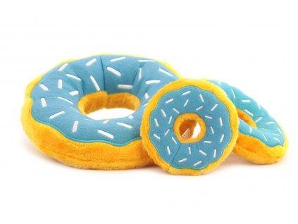 Hračka pro psy – plyšový donut. Příjemný hebký materiál, výběr velikostí, barva modrá/žlutá.