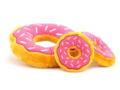 Oblíbená hračka pro psy – plyšový donut. Příjemný hebký materiál, výběr velikostí, barva růžová/žlutá.