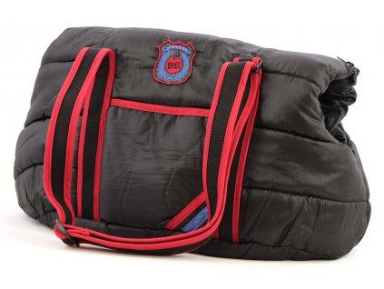 Prošívaná sportovní taška pro psy od BOBBY. Extra měkká, ideální pro malé psy, nosnost 5 kg, barva černá.