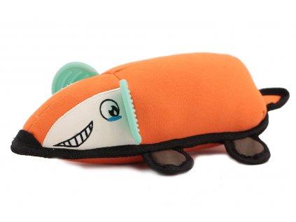 Hračka pro psy z pevnějšího materiálu – myš. Hračka pískáním spolehlivě zaujme každého psa a je ideální třeba k aportování. Barva oranžová.