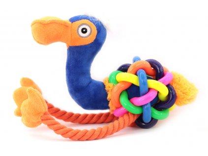 Hračka pro psy – velký pštros z kombinace materiálů – plyše, gumy a provazu. Hračka píská a je ideální k přetahování, aportování apod.