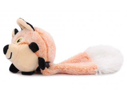 """Hračka pro psy – plyšová liška. Hračka má uvnitř odolný míček a při stisknutí píská a """"praská"""". Celková délka cca 30 cm."""