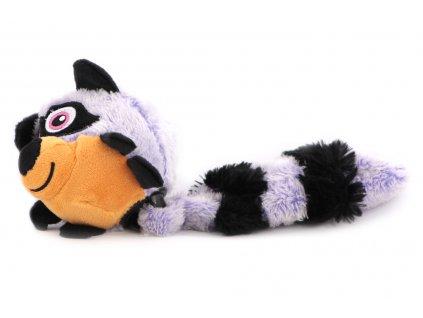 """Hračka pro psy – plyšový mýval. Hračka má uvnitř odolný míček a při stisknutí píská a """"praská"""". Celková délka cca 30 cm."""