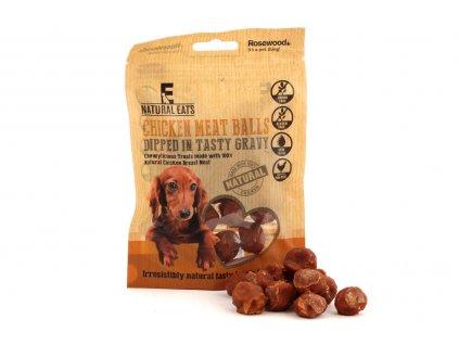 Pamlsky pro psy pro zdravé mlsání – 100% přírodní kousky kuřecího masa namočené v chutné omáčce. Neobsahují lepek ani obiloviny.