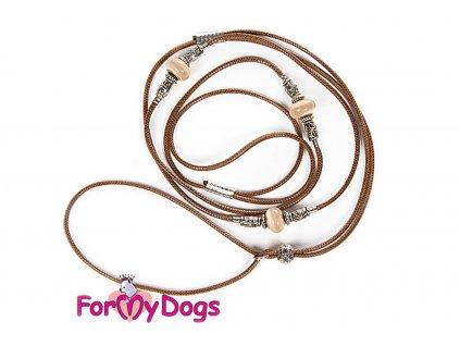 Výstavní/předváděcí vodítko pro psy od ForMyDogs. Délka 125 cm, nastavitelný nákrčník, barva hnědá.