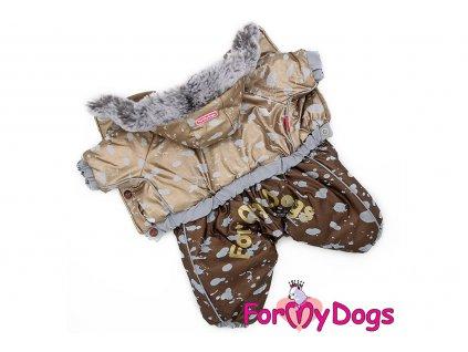 Obleček pro psy – teplý zimní overal METALLIC od ForMyDogs z voduodpuzujícího materiálu s kožešinovou podšívkou. Zapínání na druky na bříšku.