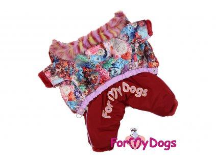 Obleček pro fenky – teplý zimní overal FLOWERS od ForMyDogs z voduodpuzujícího materiálu s plyšovou podšívkou. Zapínání na druky na bříšku.