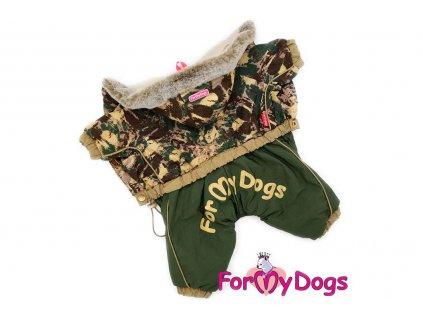 Obleček pro psy – zimní overal CAMOUFLAGE od ForMyDogs z voduodpuzujícího materiálu s hedvábnou podšívkou. Zapínání na druky na bříšku.