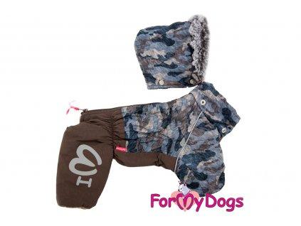 Obleček pro psy – teplý zimní overal BROWN CAMOUFLAGE od ForMyDogs. Vylepšené zapínání na zádech, odnímatelná kapuce, rukávy s vnitřní manžetou.