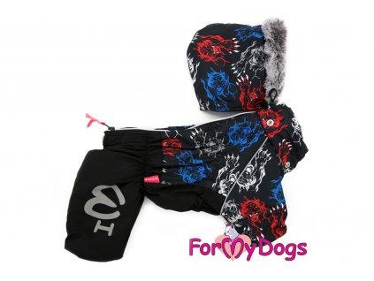 Obleček pro psy – teplý zimní overal TIGER CLAW od ForMyDogs. Vylepšené zapínání na zádech, odnímatelná kapuce, plyšová podšívka.