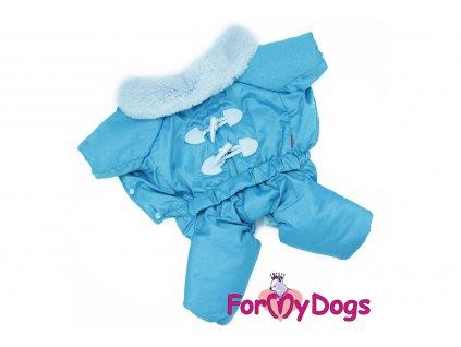Obleček pro psy – teplý zimní overal BLUE LACING od ForMyDogs z voduodpuzujícího materiálu s kožešinovou podšívkou se sinteponem. Zapínání na druky na bříšku.