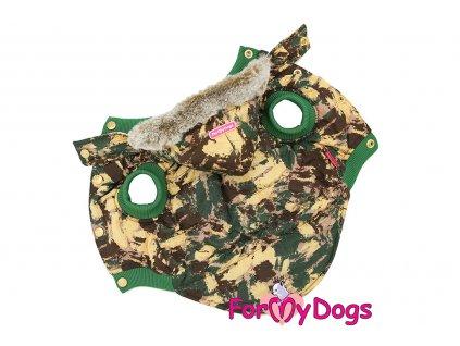 Obleček pro psy i fenky od FMD – zimní bunda BROWN CAMOUFLAGE z voduodpuzujícího materiálu s velurovou podšívkou. Zapínání na druky na bříšku.