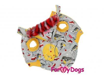 Obleček pro psy i fenky od FMD – zimní bunda YELLOW BULLFINCH z voduodpuzujícího materiálu s kožešinovou podšívkou. Zapínání na druky na bříšku.