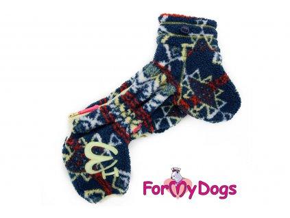 Obleček pro psy – jednovrstvý overal BLUE ALPI od ForMyDogs z vlněného úpletu. Zapínání na zip zádech, zvýšený límec.