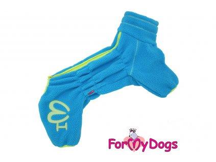 Obleček pro psy – lehký jednovrstvý overal BLUE od ForMyDogs z vysoce kvalitního flísu. Zapínání na zip zádech, zvýšený límec.