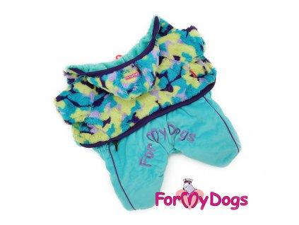 Obleček pro psy – teplý zimní overal BLUE HOODY od ForMyDogs z plyšové kožešinky. Zapínání na druky na bříšku.