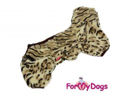 Obleček pro psy – lehký jednovrstvý overal LEOPARD od ForMyDogs z lehoučkého flísu. Zapínání na zip zádech, zvýšený límec.