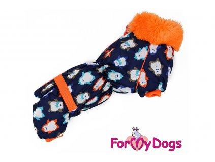 Obleček pro psy jezevčíků – teplý zimní overal PENGUIN od ForMyDogs z voduodpudivého materiálu. Zapínání na zádech, kožešinová podšívka, vyšší límec.