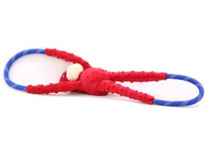 hracka pro psy pretahovaci opice cervena