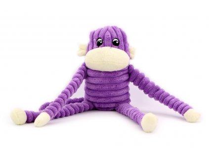 Plyšová hračka pro psy – pískací opice. Velikost hračky cca 29 cm, vhodná pro malá a střední plemena psů. Barva fialová.