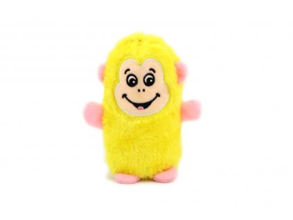 Plyšová hračka pro psy – pískací opička. Velikost hračky cca 14 cm, vhodná pro štěňata a malá plemena psů. Barva žlutá.