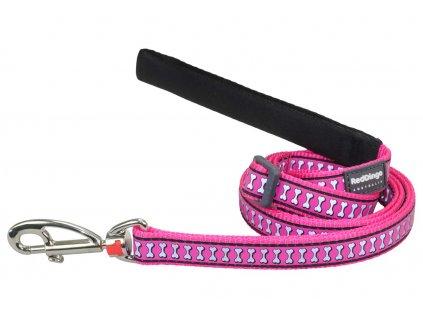 Reflexní vodítko pro psa, tmavě růžové