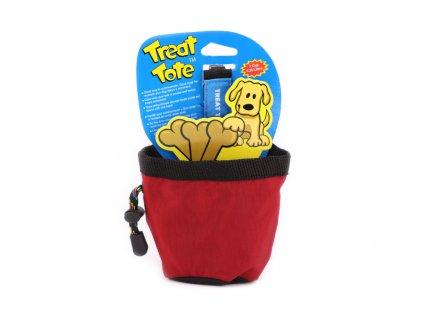 Pamlskovník – zásobník na psí pochoutky je nepostradatelná pomůcka pro psy ve výcviku. Snadno ho připevníte na opasek nebo lem kalhot a výcvik může začít. Barva červená.