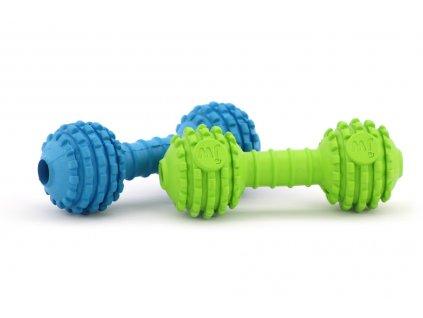 Hračka pro psy – měkká gumová činka s otvorem na ukrytí pamlsku. Hračka má výstupky na masírování dásní a je vhodná i k aportování.