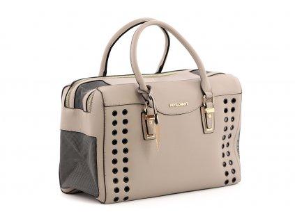 Luxusní taška na psy až do 6 kg z kolekce Urban Pup, řada AIMEE. Vykládané zpevněné dno, precizní zpracování, rozměry 42 × 20 × 27 cm.