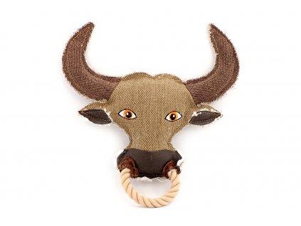 Hračka pro psy od DOG FANTASY – hlava býka. Vyrobená z pevné látky, rozměry cca 26 cm × 26 × 5 cm, pískací.
