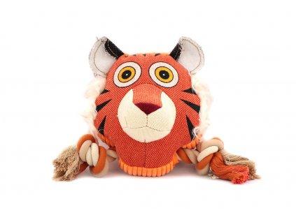 Hračka pro psy od DOG FANTASY – hlava tygra. Vyrobená z pevné látky kombinované s provazem, rozměry cca 23 cm × 23 cm, pískací.