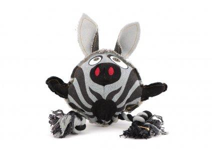 Hračka pro psy od DOG FANTASY – hlava zebry. Vyrobená z pevné látky kombinované s provazem, rozměry cca 23 cm × 23 cm, pískací.