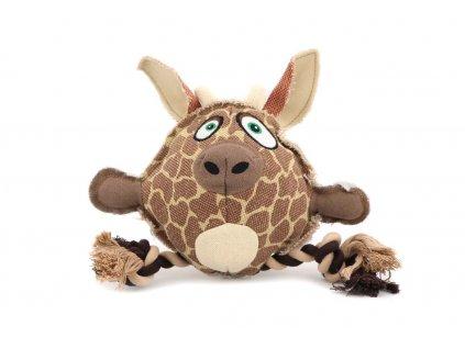 Hračka pro psy od DOG FANTASY – hlava žirafy. Vyrobená z pevné látky kombinované s provazem, rozměry cca 23 cm × 23 cm, pískací.