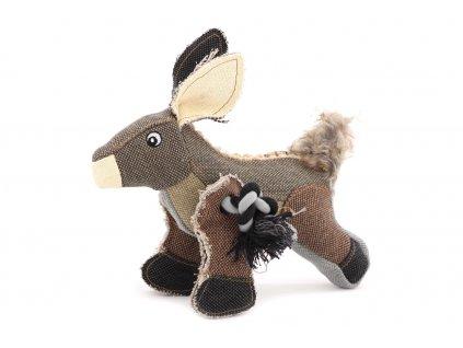 Hračka pro psy od DOG FANTASY – oslík. Vyrobená z pevné látky kombinované s provazem, výška cca 22 cm, pískací.