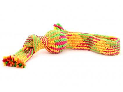 Oblíbená hračka pro psy – přetahovadlo vyrobené z měkkého bavlněného provazu. Vhodné pro malé a střední psy, uvnitř pískací míček a praktické poutko.