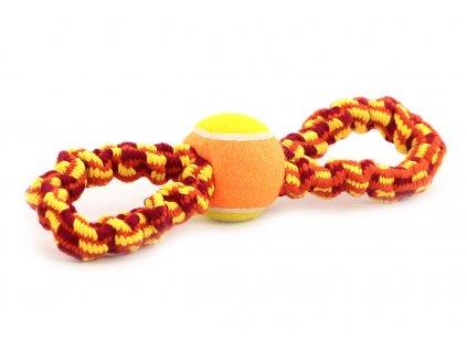 Odolná přetahovací hračka pro střední a větší psy vyrobená z pevného elastického provazu a tenisového míčku. Celková délka 30 cm.
