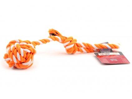 Odolná přetahovací hračka pro střední a větší psy vyrobená z pevného krouceného provazu s uzlem. Celková délka 34 cm.