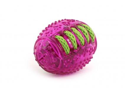 Kousací a aportovací hračka pro psy – RUGBY míček z poloměkké gumy a bavlněného provazu. Celková délka 10 cm.